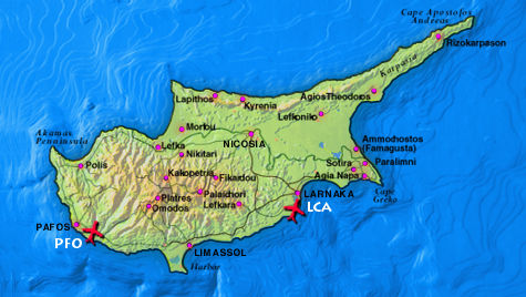 Cypairportsjpg - Cyprus map with airports