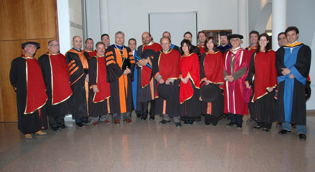 Dr. Christos Papadimitriou with faculty members of the Computer Science Department, March 18, 2008
